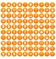 100 work paper icons set orange vector