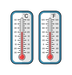 Colored flat icons of thermometers for weather vector