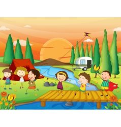 A river a bench and kids vector