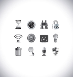 Black and white icons vector