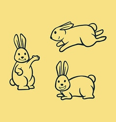 Rabbit simple line art vector