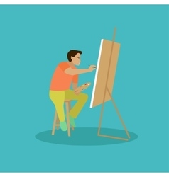 Painter is working on his easel picture vector