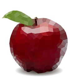 Polygon mosaic apple vector