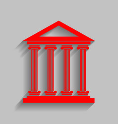 Historical building   red icon vector
