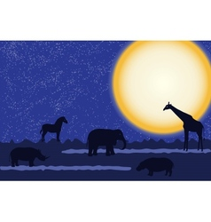 Card with african animals at night vector