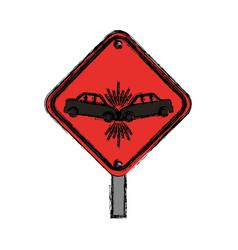 Warning sign crash danger vector