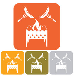 Brazier and sausage icon vector