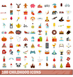 100 childhood icons set flat style vector
