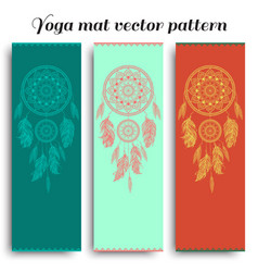 Set of yoga mat with dreamcatcher pattern vector