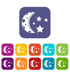 Starry night icons set flat vector