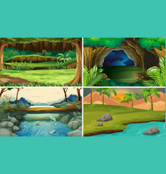 Four forest scenes with trees and rivers vector