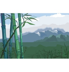 Landscape with bamboo vector