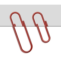 Red metal paperclip and paper vector