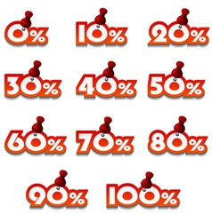 Attached promotional percentage numbers vector