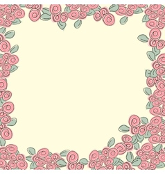 Frame from pink roses vector