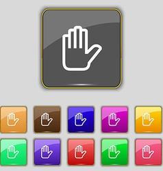 Hand print Stop icon sign Set with eleven colored vector image