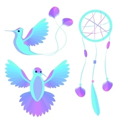Bird wings decorative elements vector image