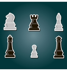 Color icons with chess pieces vector