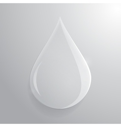 Glass transparent drop over grey background vector
