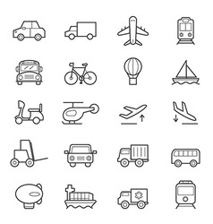 Transportation icons line vector