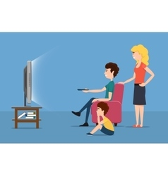 Family watching tv flat vector