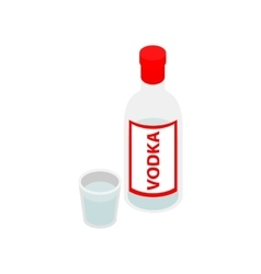Bottle of vodka isometric 3d icon vector