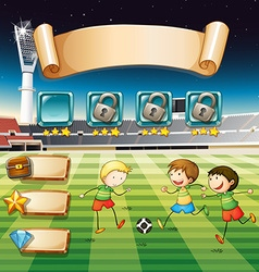 Game template with children playing soccer vector image