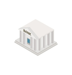Bank building icon isometric 3d style vector