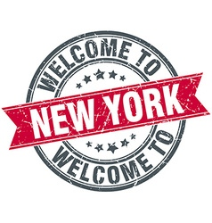 Welcome to new york red round vintage stamp vector