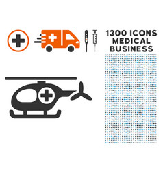 ambulance helicopter icon with 1300 medical vector image