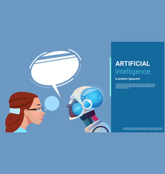 Artificial intelligence woman with modern robot vector