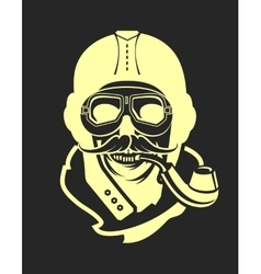 aviator skull emblem vector image