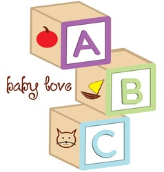 Baby love blocks vector