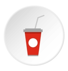Beverage cup icon flat style vector image