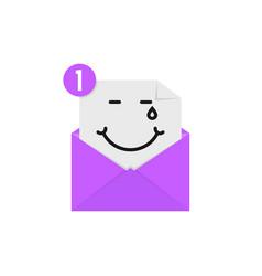 Blissful emoji in purple letter notification vector
