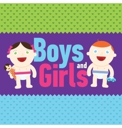 Boy and girl smiling with toys vector