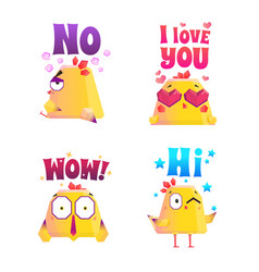chicken polygonal sticker set vector image