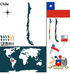 Chile map world vector image vector image