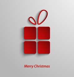 Christmas card with red gift on white background vector image vector image