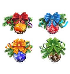 Christmas ornaments set vector image vector image