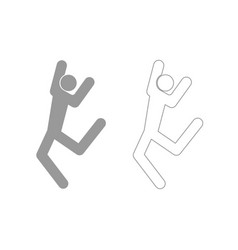 Dancer stick grey set icon vector