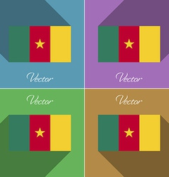 Flags cameroon Set of colors flat design and long vector image