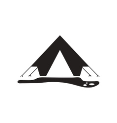 Flat icon in black and white style camp tourist vector