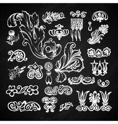 Floral chalkboard set vector image