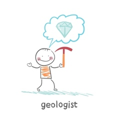 Geologist holding a hammer and thinks about gem vector image vector image