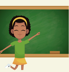 Girl student chalkboard classroom vector
