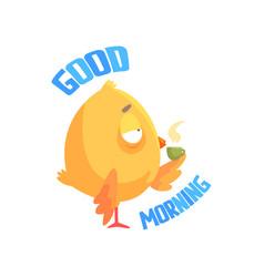 good morning funny cartoon comic chicken drinking vector image vector image