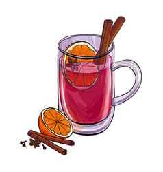Hand drawn cup with mulled wine vector