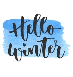 Hello winter hand written inscription vector