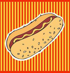 Hot dog hand drawing sticker vector